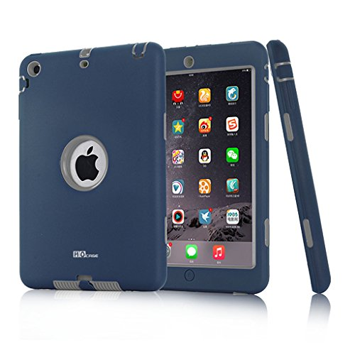 Hocase Dual Layer  Ruggged Hard Rubber Case Apple iPad mini 1 / 2 / 3 - Navy Blue / Grey