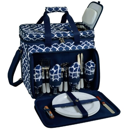 Picnic at Ascot Equipped Insulated Picnic Cooler with Service for 4 - Trellis Blue by Picnic at Ascot
