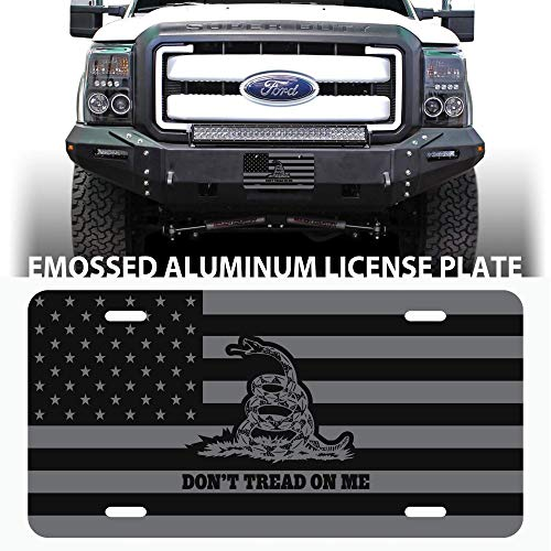 Ghost American Flag Don't Tread On Me Embossed Aluminum Automotive License Plate - Flag Embossed License Plate