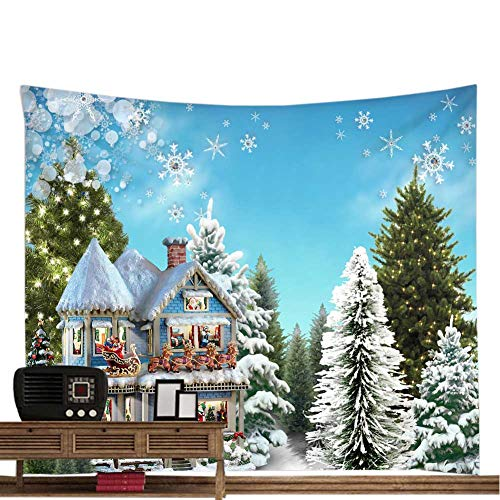 (POPPAP Snowy Winter Wonderland Wall Tapestry, Big Size Christmas Tree Santa Claus Decoration Mural Wall Hanging Blanket Christmas Shop Room Decor Background (60