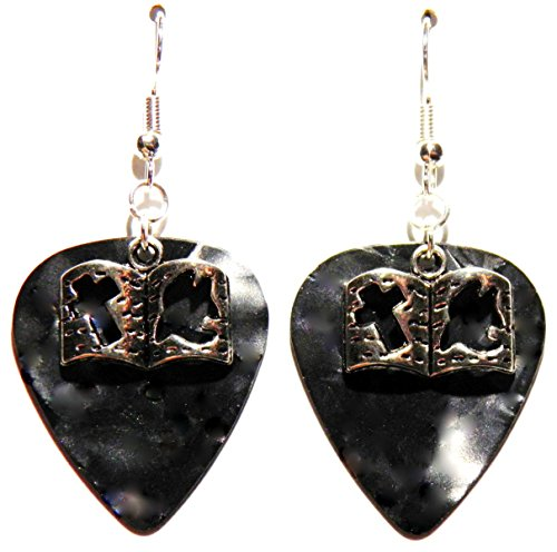 h Cross and Dove on Guitar Pick Earrings (Black Guitar Pick) ()