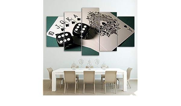 Foagge Arte de la Pared Moderna Lienzo HD Impreso Paisaje Pintura al óleo 5 Panel Juego Dice Poker Poster Modular Pictures Home Decor: Amazon.es: Hogar