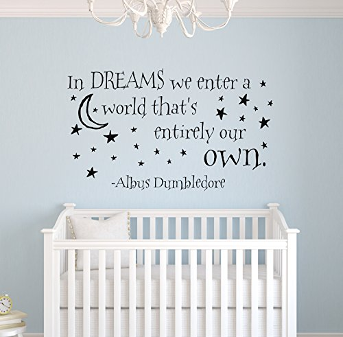 In Dreams We Enter A World That's Entirely Our Own Wall Decal Vinyl Sticker Quote Harry Potter Albus Dumbledore by Decalzone Inc
