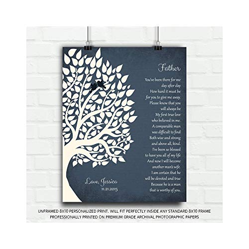 Thank You Gift for Father from Daughter Gift from Bride to Parents Personalized Gift for Father of Bride Daughter Family Wedding Poem Tree Gift for Mom and Dad - 8x10 Unframed Custom Paper Art Print
