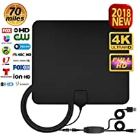 TV Antenna, Antenna TV Digital HD - Support All TVs Best 70+ Miles High Definition 2018 Newest 1080P 4K Ready Advanced Amplifier Signal Booster and 16.5FT Coax Cable for Digital Freeview