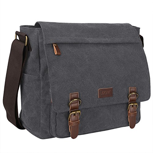 S-ZONE Vintage Canvas Laptop Messenger Bag School Shoulder Bag for 13.3-15inch Laptop Business Briefcase Gray by S-ZONE