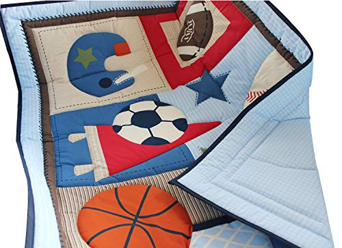 (WINLIFE Crib Bedding Set for Girls & Boys Crib Quilts 33''x42'' Baby Quit (Sports))