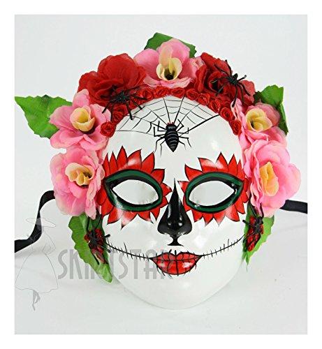 Women's Day of the Dead Dia de los Muertos Mask Pink White (Pinks) (Dia Del Los Muertos Costume)