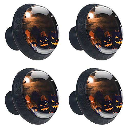 Anmarco Halloween Pumpkin Spider Drawer Knobs Pull Handles 30MM 4 Pcs Glass Cabinet Drawer Pulls for Home Kitchen Cupboard ()