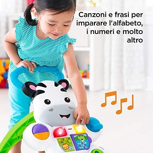 Fisher Price Zebra Primi Passi Spingibile, Giocattolo Elettronico Educativo con Musica e Suoni, per Bambini di 6 + Mesi, DLD91