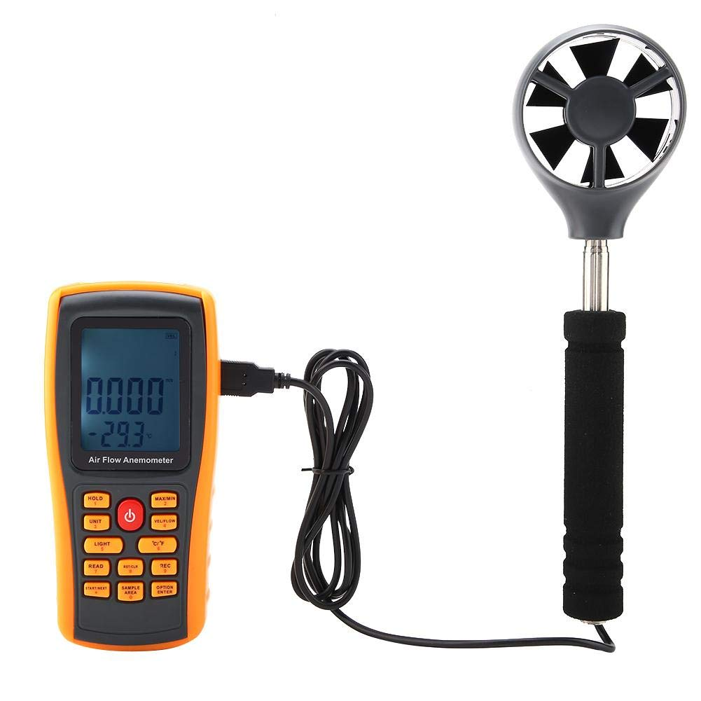 Akozon Digital Anemometer GM8902+ LCD Display Air Flow Wind Speed Scale Meter with USB Cable and Yellow Protective Case Electric Air Flow Anemometer Multi-Function Professional Measuring Tool