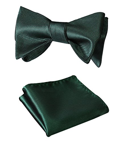 HISDERN Men's Solid Jacquard Woven Self Bow Tie Set One Size Pure ()