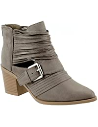 Soda Shoes Women's Jenner-S Block Mid Heel Ankle Cutout Bootie with Belted Strappy Stacked