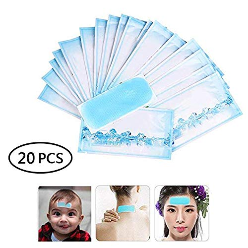 Umiwe Fever Cooling Patch, 20 Pcs Headache Gel Pads, Fever Reducer Pad Cooling Relief Sticker for Baby Children & Adult