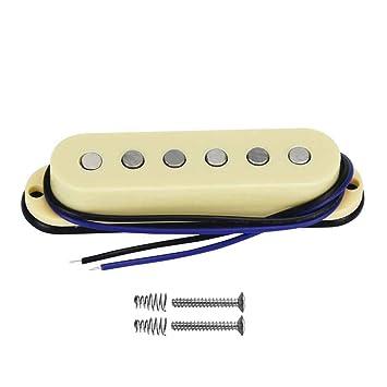FLEOR Alnico V guitarra eléctrica Single Coil Pickup M medio pastilla 50 mm soporte de barra para Strat estilo guitarra, color negro con tornillos y ...