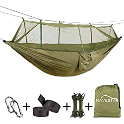 NAVESTAR Camping Hammock with Bug Net, Sturdy Double Hammock with Mosquito Net and Tree Straps for Outdoor Backpacking Hiking/Indoor Garden Yard