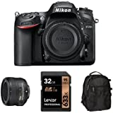 Nikon D7200 DX-Format DSLR Camera with 50mm Lens Accessory Bundle