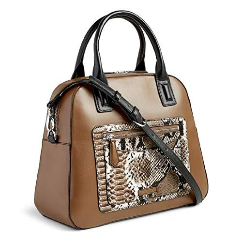 - Vera Bradley Women's Bowler Satchel Coffee with Python Print