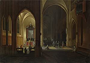 Oil Painting 'Pieter Neeffs The Elder, Bonaventura Peeters The Elder An Evening Service In A Church' 24 x 34 inch / 61 x 87 cm , on High Definition HD canvas prints, Bath Room, Garage, Living decor