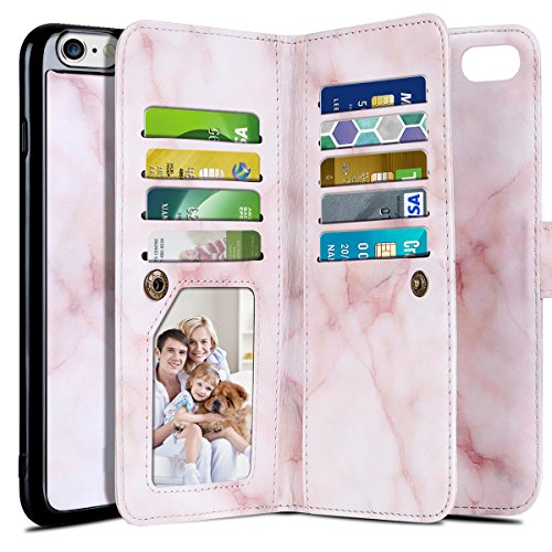 Leather Mobile Phone Covers (iPhone 6S Case, Vofolen 2 in 1 iPhone 6S Wallet Case Card Holder Marble Texture PU Leather Folio Flip Cover Holster ID Slot Pocket Detachable Wristband Magnetic Slim Hard Shell for iPhone 6 6S (Pink))