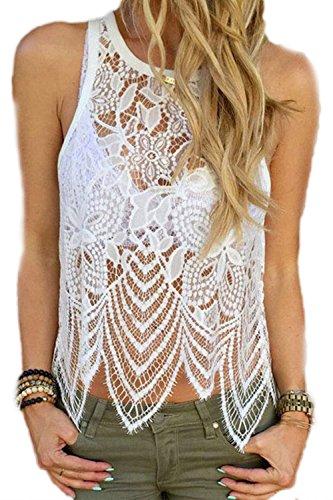 Damen ärmellose Spitze schiere Mode T Shirts