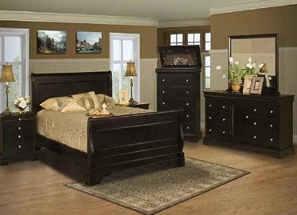 Belle Rose Black Cherry Bedroom Set   Queen