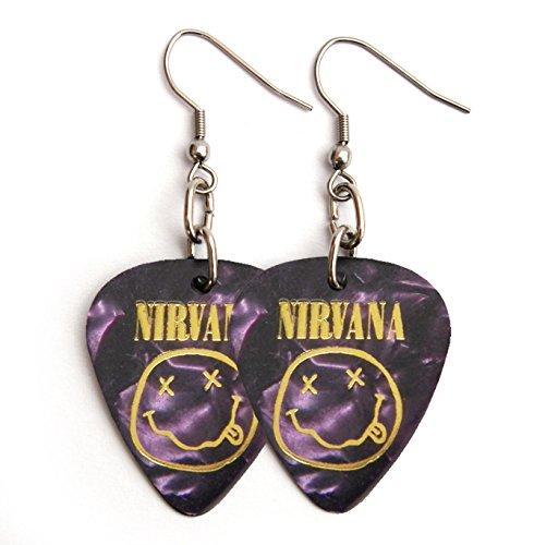 NIRVANA guitar pick plectrum Earrings stainless steel earwires purple