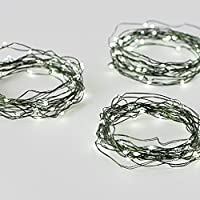 Set of 3 Cool White 50 LED Green Wire Battery Operated Fairy String Lights