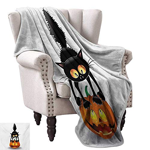 Lightweight Blanket,Black Cat on Pumpkin Drawing Spooky Cartoon Characters Halloween Humor Art 90
