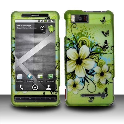 Rubberized Hawaiian Flower Hard Snap On Case Cover Faceplate Protector for Motorola DROID X MB810 & Droid X2 MB870 Verizon ()