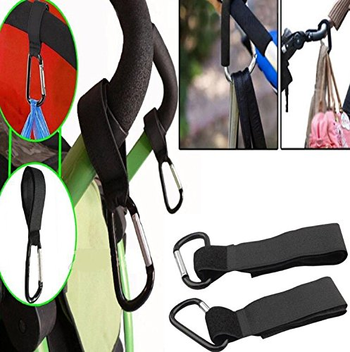 8pack of Stroller Hook- Hook Your Shopping & Bags Safely on Your Stroller, Pushchair or Pram. Universal fit, Black by Convenient-life (Image #4)