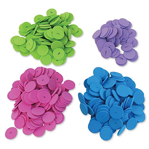 hand2mind Foam Place Value Disks, 4 Values (Pack of ()