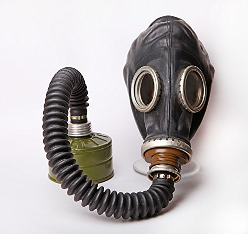 Black Soviet GP Gas Mask with rubber hose (post-apocalyptic cosplay costume) (Large: 68.5cm - 70.5cm / 26.77 - 27.56