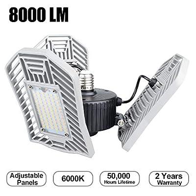 Garage Lighting 80W, 8000LM LED Garage Light, 6000K LED Garage Ceiling Light Fixture, LED Shop Lights with Adjustable Panels