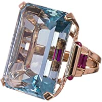 supaporn shop 10.4CT Aquamarine 925 Silver Ring Men Women Rose Gold Filled Wedding Size 6-10 (6)