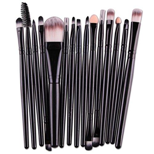 (REBUNE 15 Pieces Makeup Brush Set Professional Face Eye Shadow Eyeliner Foundation Blush Lip Makeup Brushes Powder Liquid Cream Cosmetics Blending Brush Tool (all Black))