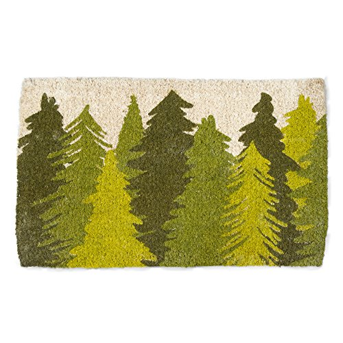 tag - Woodland Trees Coir Mat, Decorative All-Season Mat for the Front Porch, Patio or Entryway, Green by tag