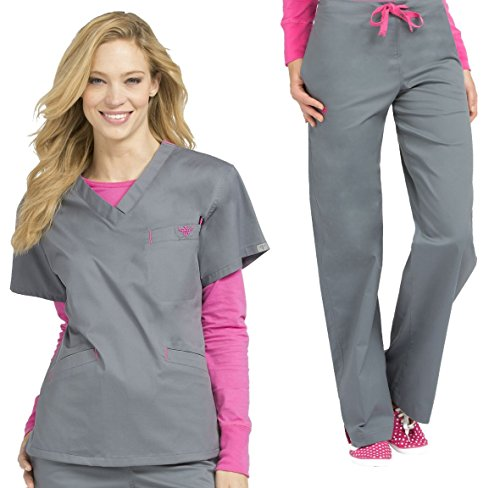 Med Couture Signature V-Neck Top & Signature Straight Leg Pant Scrub Set[XS – 3XL] + Free Gift