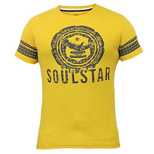 Herren T-shirt Soul Star Top Adler Graphischer Aufdruck Freizeit Kurze Ärmel Sommer Neu - Senf - FORTUNE, Herren, M