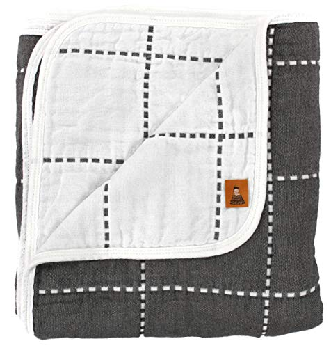 Dear Baby Gear Muslin Swaddle Baby Blanket Grey Checkered Pattern, Includes 180 Day Warranty, 41 inches X 39 inches ()