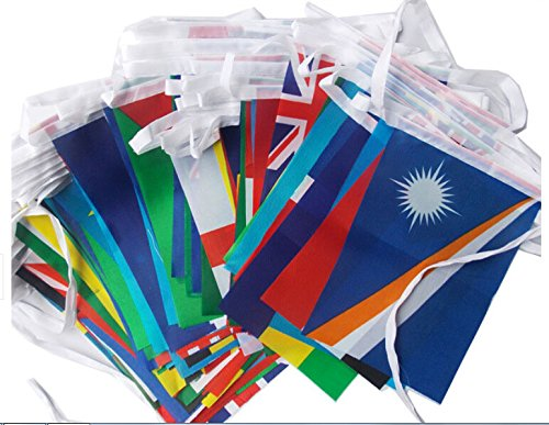 100pcs different countries national flags on each string String flag (8ftx12ft) For Sale