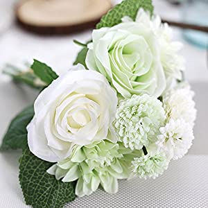 Artificial Flowers Rose Bouquets, Fake Flowers Silk Roses Bridal Wedding Bouquet for Home Garden Party Wedding Decor, Fake Roses W/stem for Wedding Home Decor (Green) 107