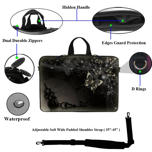 Case Sleeve Strap Black Computer Handle with Adjustable and 15 Gary 6 Portable Butterfly clock inch Bag Neoprene Hidden Laptop 15 Shoulder Carrying BzXHTwxH