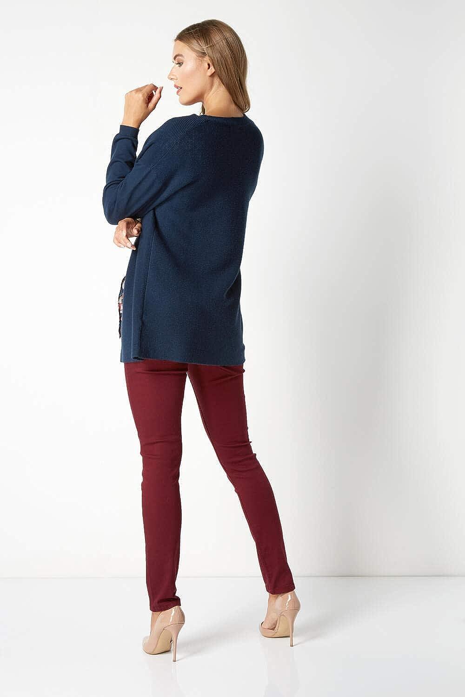 Roman Originals Women Ottoman Knit Cardigan in Blue Sizes 10-20