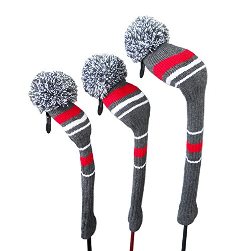 Vintage Men's Golf Head Cover, Grey/red/white, Set of 3 for Golf Clubs Driver(460cc),fairway Wood,hybrid(1#3#5#), Set of 3, Washable, Anti-wrinkle Anti-pilling, Soft Acrylic Yarn Knitted, Long Neck