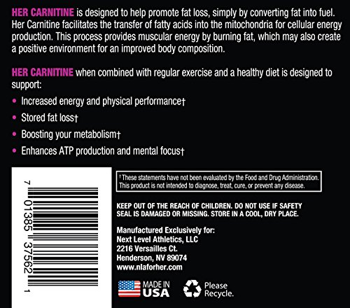 NLA for Her Her Carnitine Premium L Carntine/ALCAR Blend Supports Fat Loss (Stimulant Fee), Improved Athletic Performance & Provides Fuel and Energy 60 Vegetarian Capsules