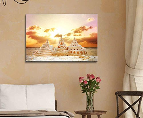 Sand Castle Over Sunset on The Beach Wall Decor ation