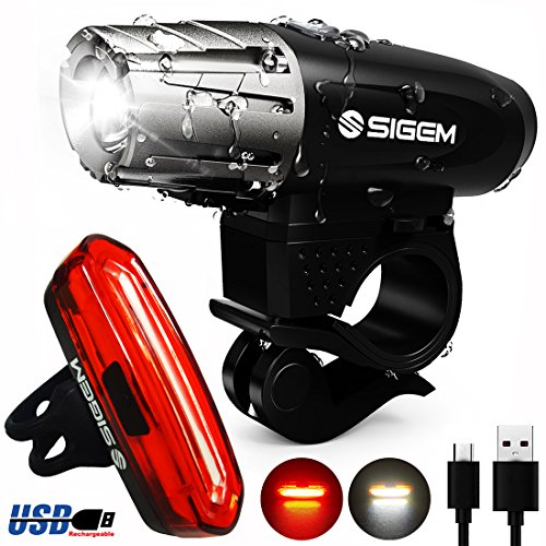 SIGEM Bike Light Set, Ultra Bright, USB Rechargeable, Premium LED Front Headlight and Rear Taillight. Both Bicycle Head & Tail Lights are Waterproof, Easy to Install. (Bike Light Set C) ()