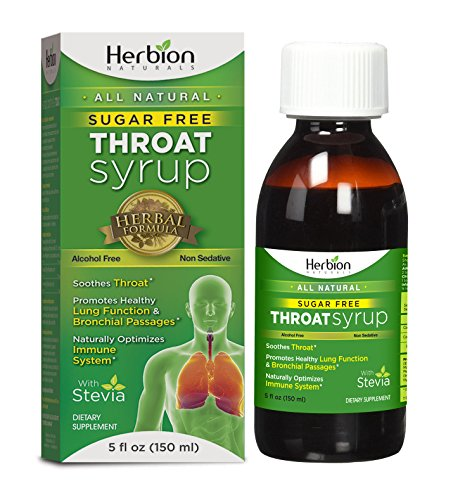 Herbion Naturals Sugar-Free Throat Syrup with Stevia, 5 fl oz - Naturally Tasty, Relieves Cough, Soothes Throat, Promotes Healthy Bronchial and Lung Function (Best Medicine For Itchy Throat And Cough)