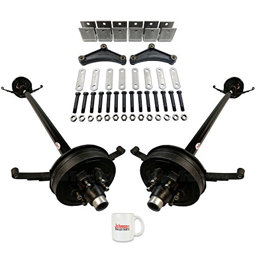 Tandem 5,200 lb Electric Brake Trailer Axles - Running Gear Set w/Hanger Kit (84